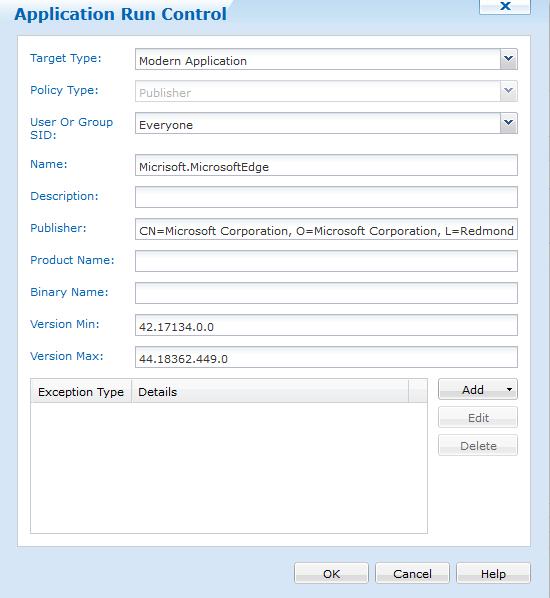 Screenshot of Application Run Control RUle