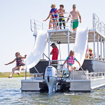 A photo of a family having fun on a Big Double Decker boat, which is available for rent at Murray Harbor.