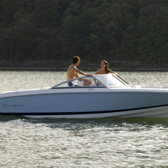 A Cobalt ski boat, one of State Park Marina's options for Table Rock Lake boat rentals