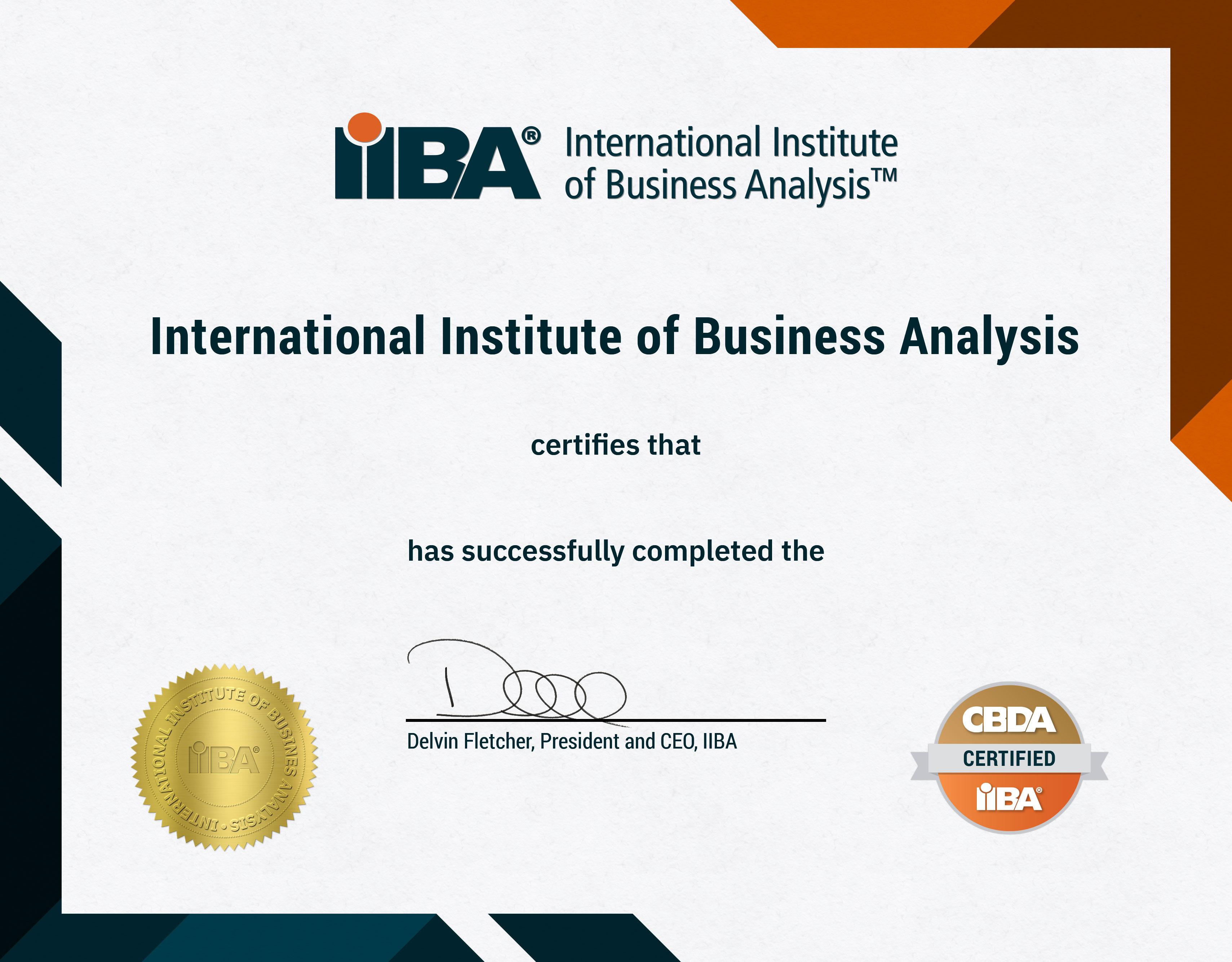 Mẫu chứng chỉ CBDA do tổ chức IIBA chứng nhận
