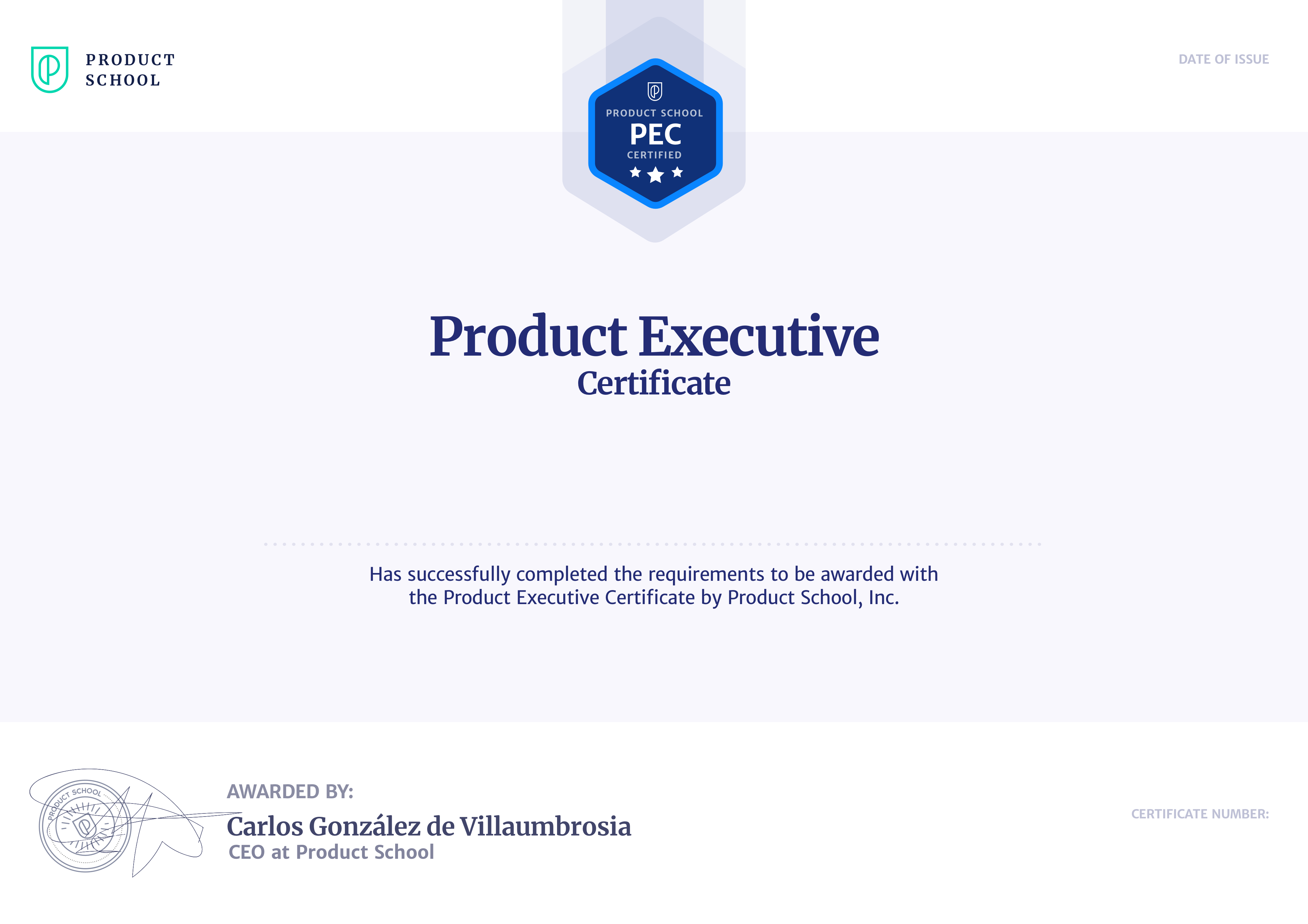 Product Executive Certificate • Parham Baikoghli • Product ...
