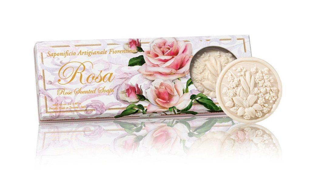 Estojo Sabonete Rosas 3x125g Redondo da Fiorentino Itália