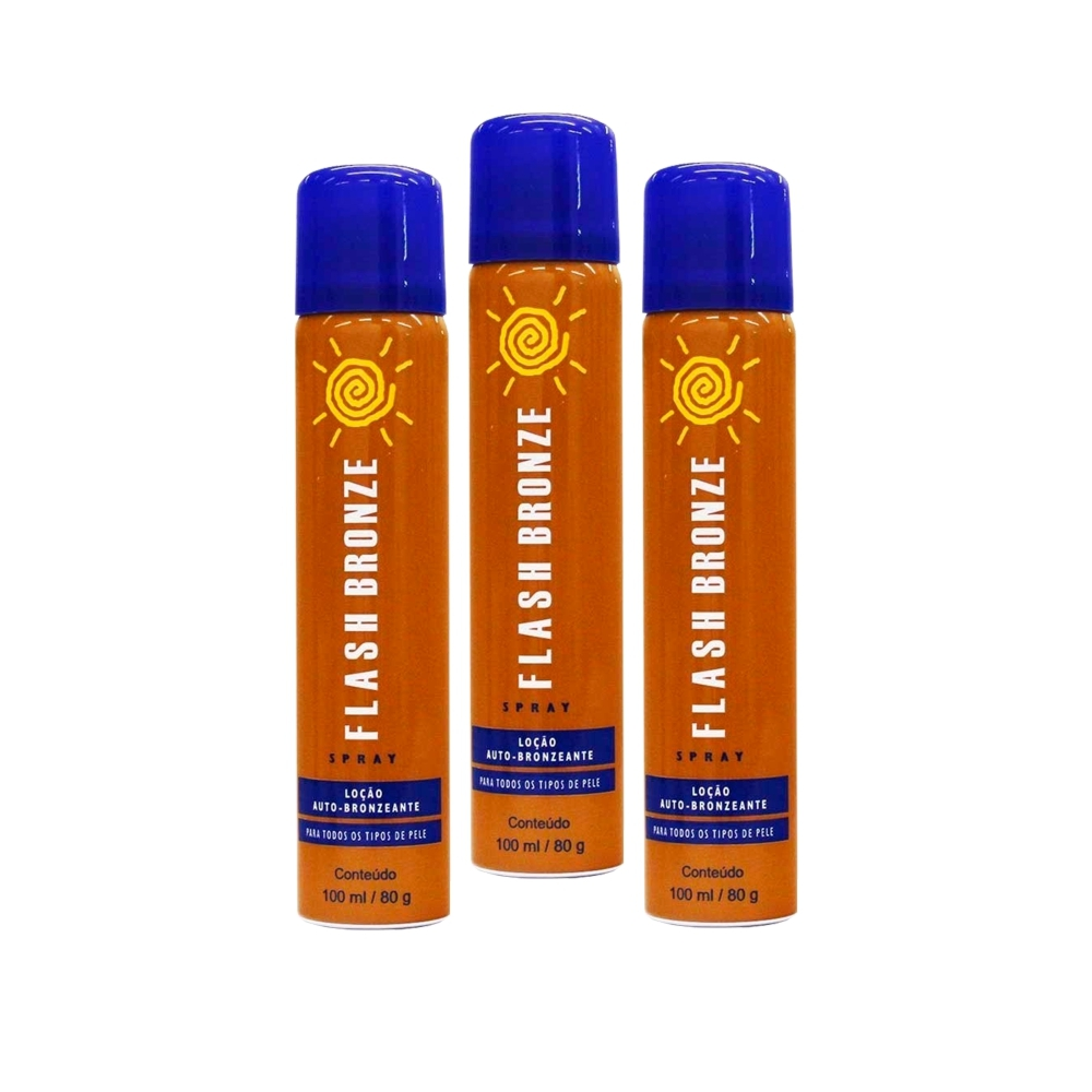 Kit 03 Flash Bronze Spray Auto Bronzeador A Jato 100ml
