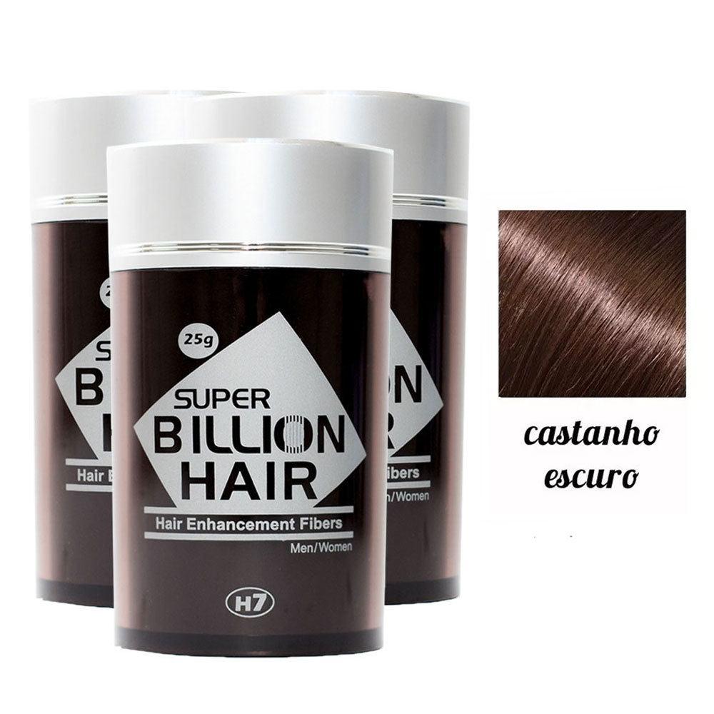 Kit 03 Maquiagem pra Calvície Billion Hair - Cast Escuro 25g