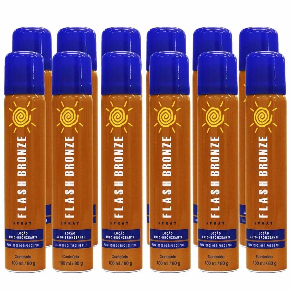 Kit 12 Flash Bronze Spray Auto Bronzeador A Jato 100ml