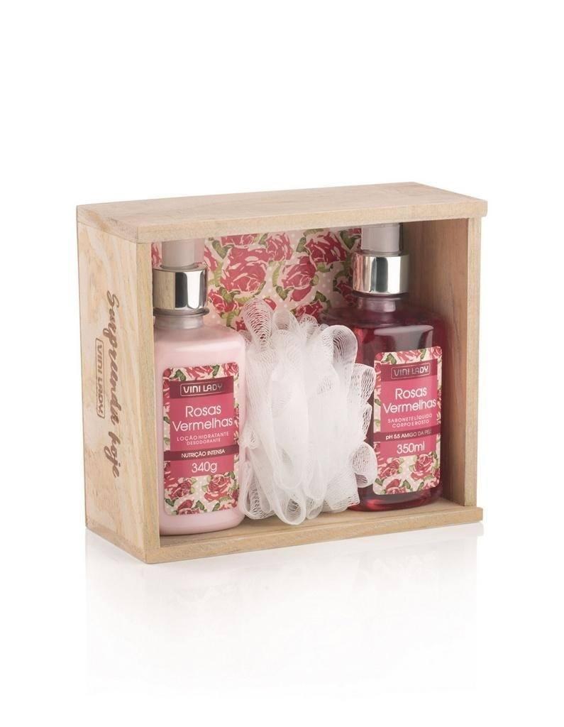 Kit de Banho Rosas Vermelhas com 04 itens da marca Vini Lady