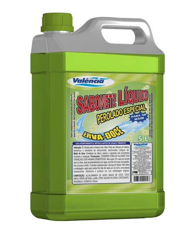 Sabonete Líquido Erva Doce 5 Litros Verde Para Mãos Valença
