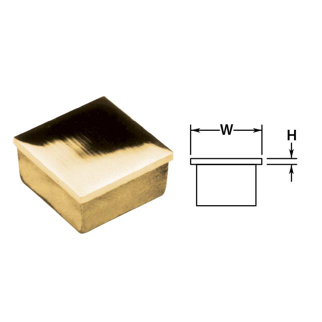 "2"" Brass Flat Square End Cap"