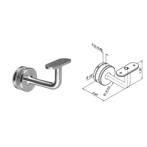 "Flat Wall Mount Bracket for Glass, 3"" Wall Clearance, 304 Satin Stainless Steel"