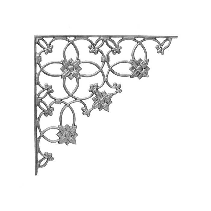"14-1/2"" Tall Cast Iron Corner Bracket, Wedding Ring Style, Double Faced"