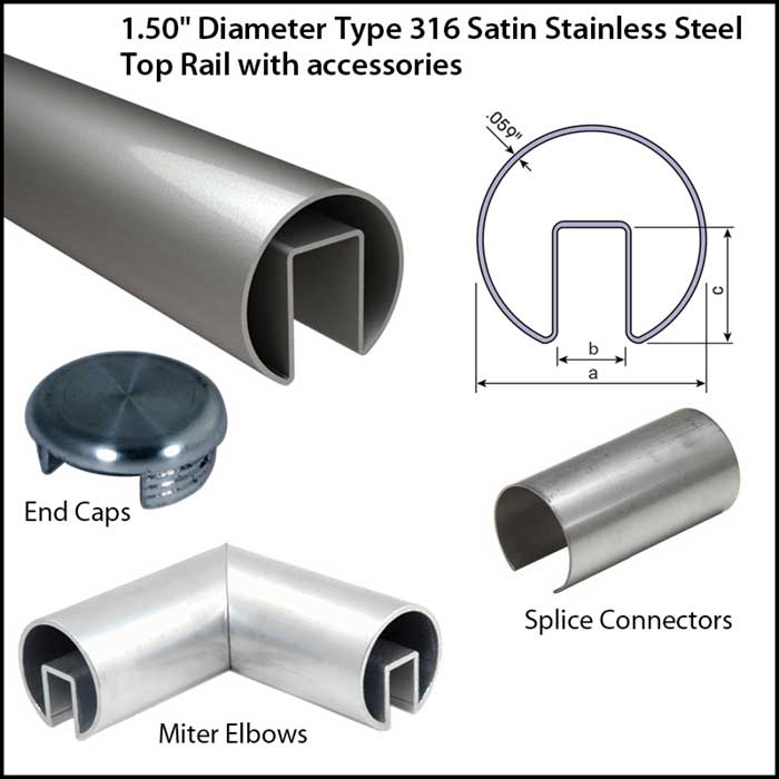 """1.5"""" Diameter Satin Stainless Steel Top Rail with Accessories"""