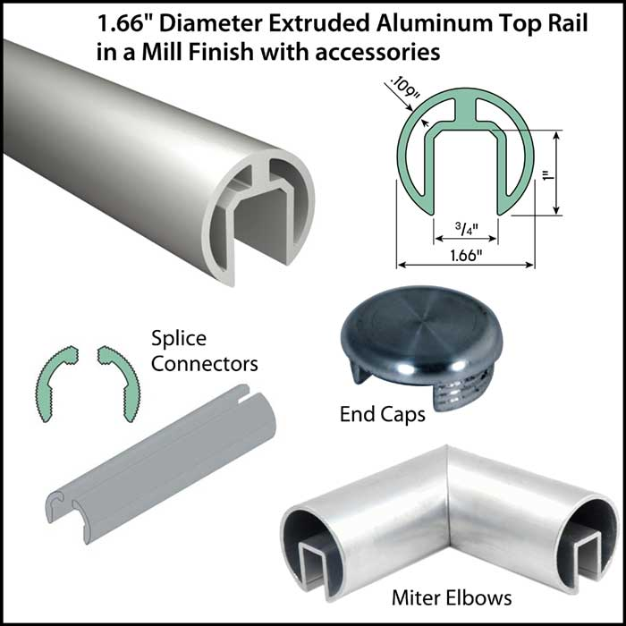 """1.66"""" Diameter Mill Finish Aluminum Extruded Top Rail with Accessories"""