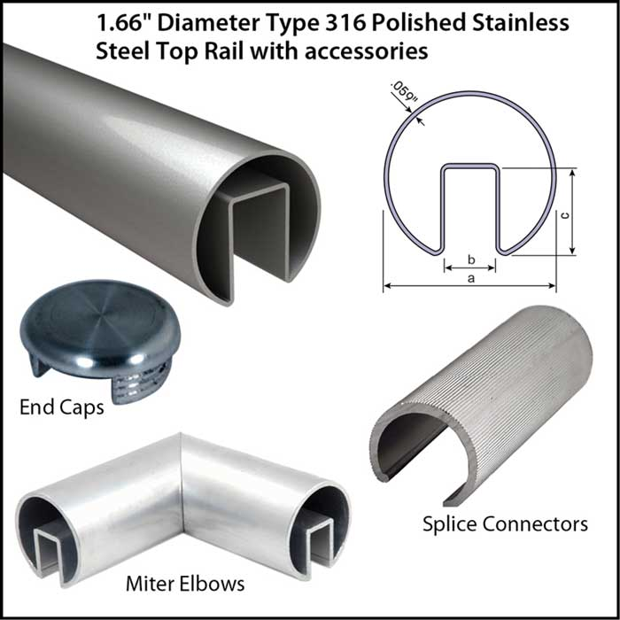 """1.66"""" Diameter Polished Stainless Steel Top Rail with Accessories"""