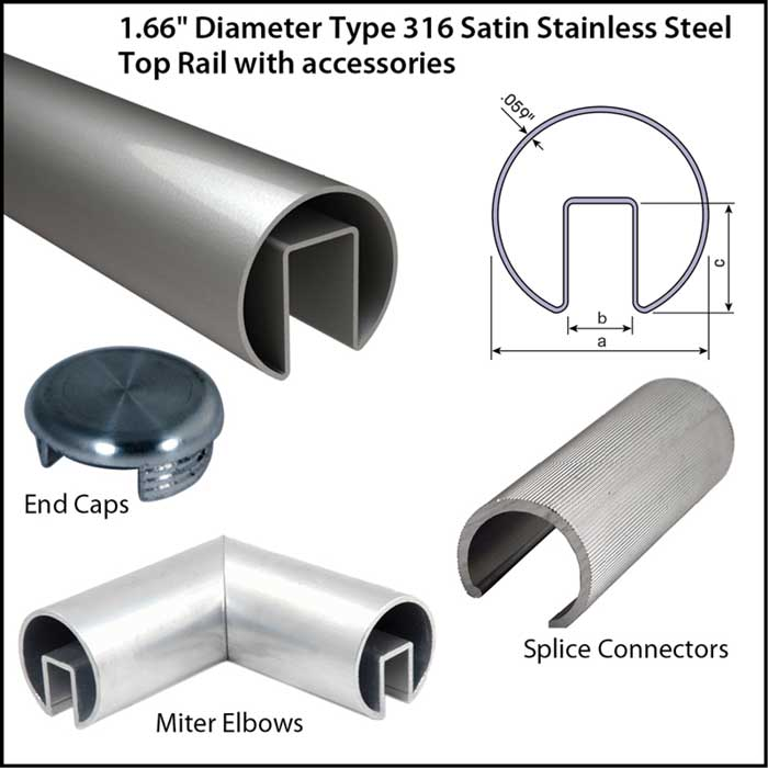 """1.66"""" Diameter Satin Stainless Steel Top Rail with Accessories"""