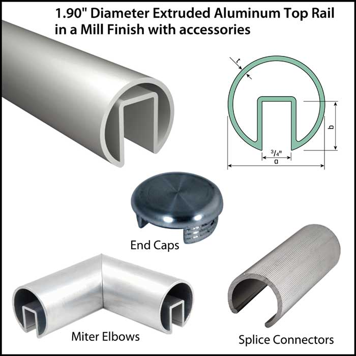 """1.90"""" Diameter Mill Finish Aluminum Extruded Top Rail with Accessories"""