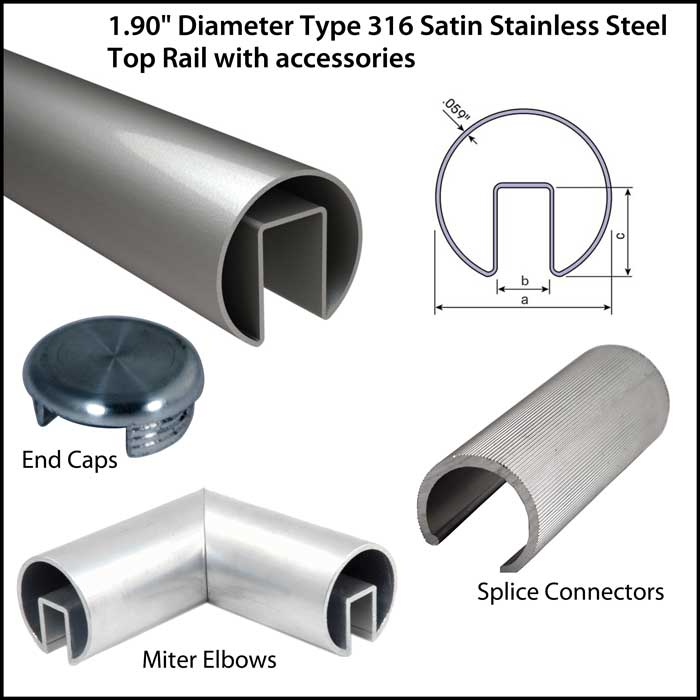 "1.90"" Diameter Satin Stainless Steel Top Rail for use with 1/2"" or 3/4"" monolithic or laminated glass"