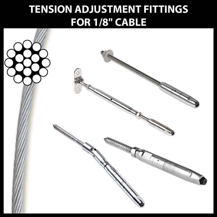 """Tension Adjustment Fittings for 1/8"""" CableRail"""