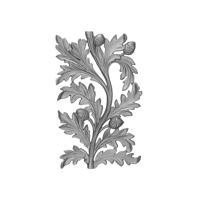 """15"""" Tall Cast Iron Panel, Water Oak Style, Double Faced"""