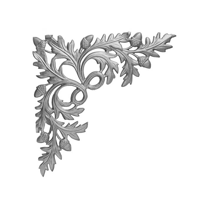 "16-1/4"" Tall Cast Iron Corner Bracket, Water Oak Style, Double Faced"