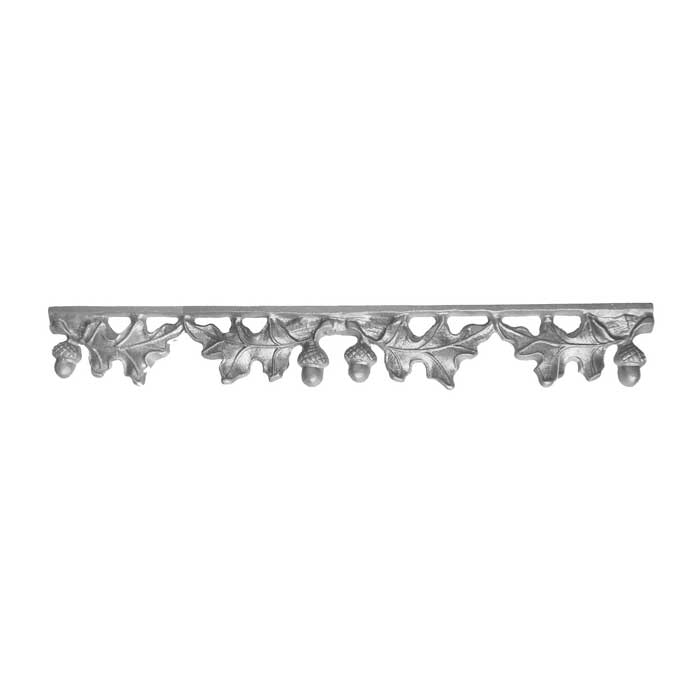 """2-1/2"""" Tall Cast Iron Valance, Curly Oak Style, Double Faced"""