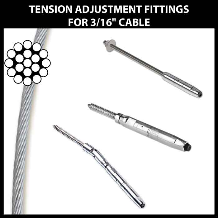 """Tension Adjustment Fittings for 3/16"""" CableRail"""