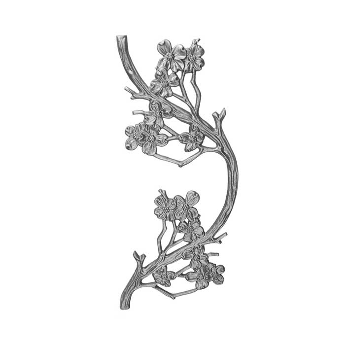 """18-1/2"""" Tall Cast Iron Panel, Dogwood Style, Double Faced"""