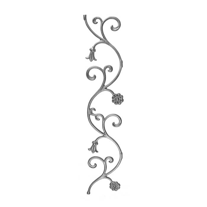"""31-1/2"""" Tall Cast Iron Panel, Bell Flower Style, Double Faced"""