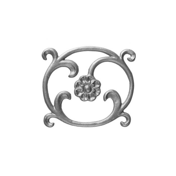 """6-1/4"""" Tall Cast Iron Corner Rosette Bracket, Bell Flower Style, Double Faced"""