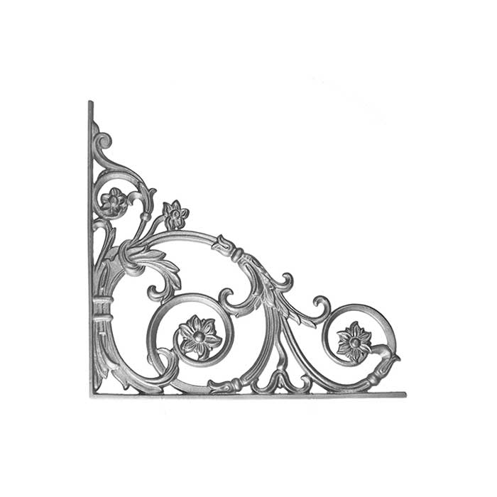 "17-1/2"" Tall Cast Iron Corner Bracket, Passion Flower Style, Double Faced"