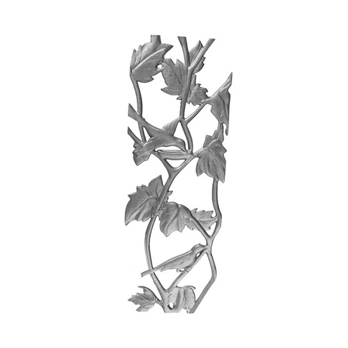 "23"" Tall Cast Iron Panel, Bird & Leaf Style, Double Faced"