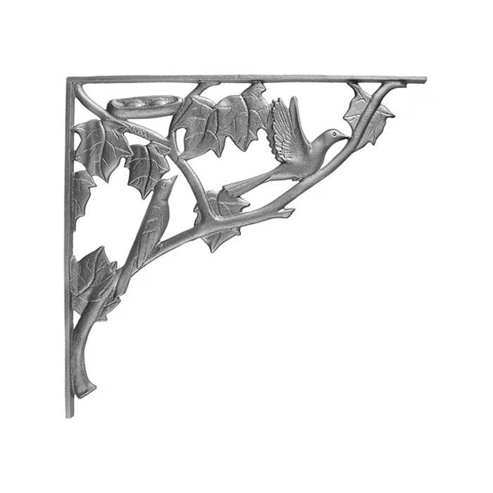 "17-3/4"" Tall Cast Iron Corner Bracket, Bird & Leaf Style, Double Faced"