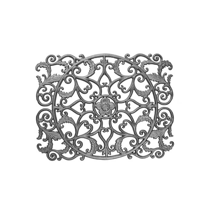 """16-3/4"""" Tall Cast Iron Panel w/Leaves and Scrolls, Double Faced"""