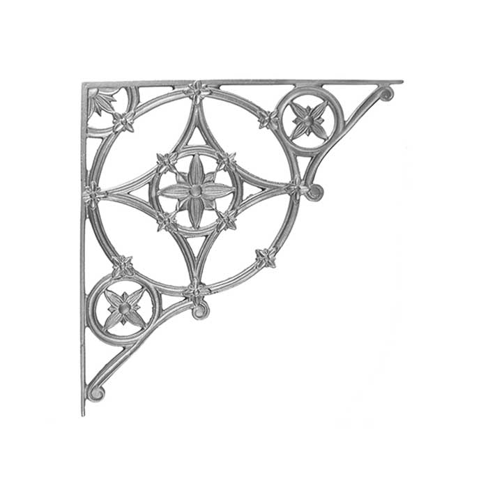 "21"" Tall Cast Iron Corner Bracket, Cathedral Style, Double Faced"