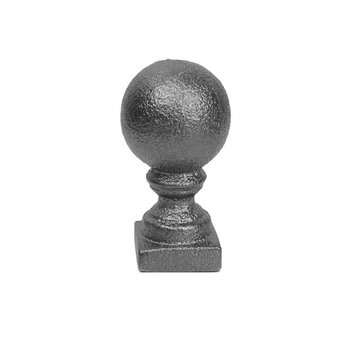 """Ball Finial, 1-1/4"""" sq. Solid Base, Cast Iron, 2-1/2"""" Tall"""