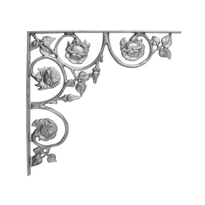 """14"""" Tall Cast Iron Corner Bracket, Rose Style, Double Faced"""