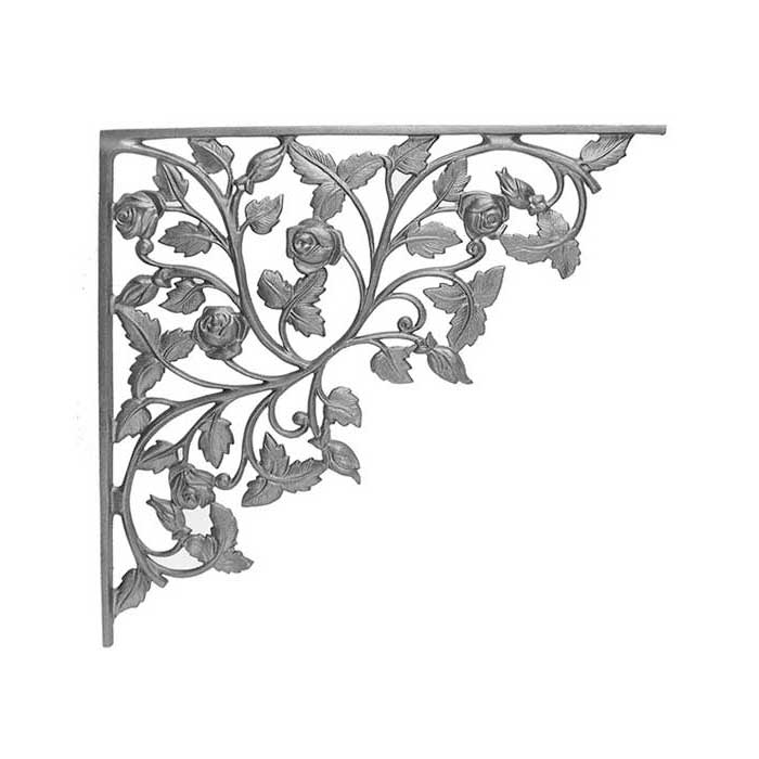 """18-1/4"""" Tall Cast Iron Corner Bracket, Rose Style, Double Faced"""