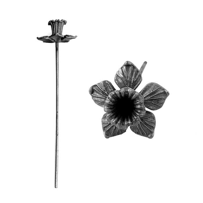 "Cast Steel Daffodil with Stem, 12-5/8"" Tall"