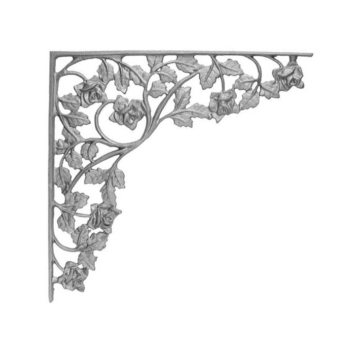 """15-1/4"""" Tall Cast Iron Corner Bracket, Rose Style, Double Faced"""