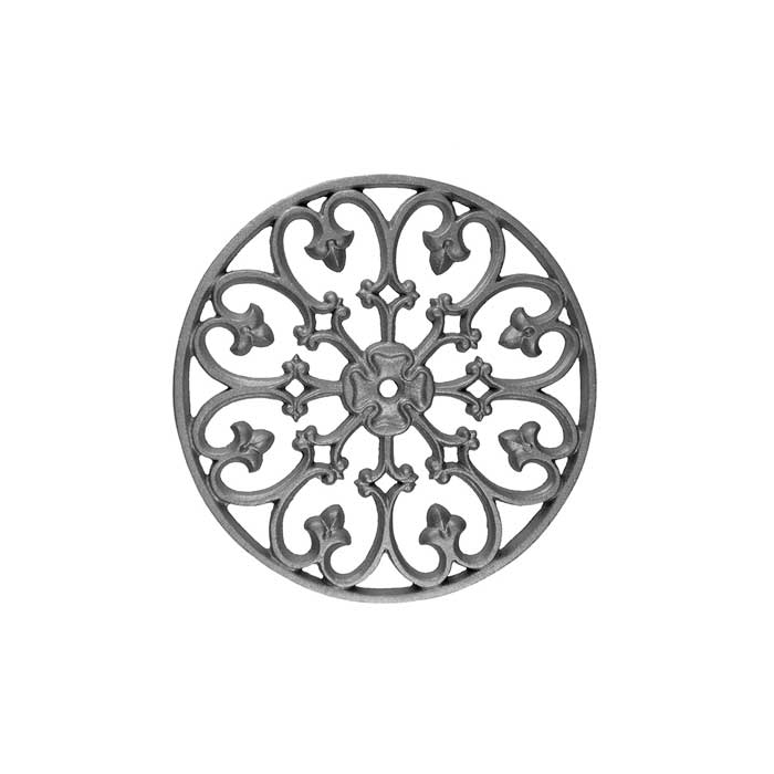 "15"" dia. Cast Iron Circle with Decorative Scroll Pattern, Single Faced"