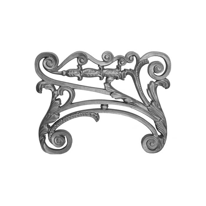 "18"" W x 14-1/4"" H Furniture Leg, Cast Iron, Scroll & Leaf Design"