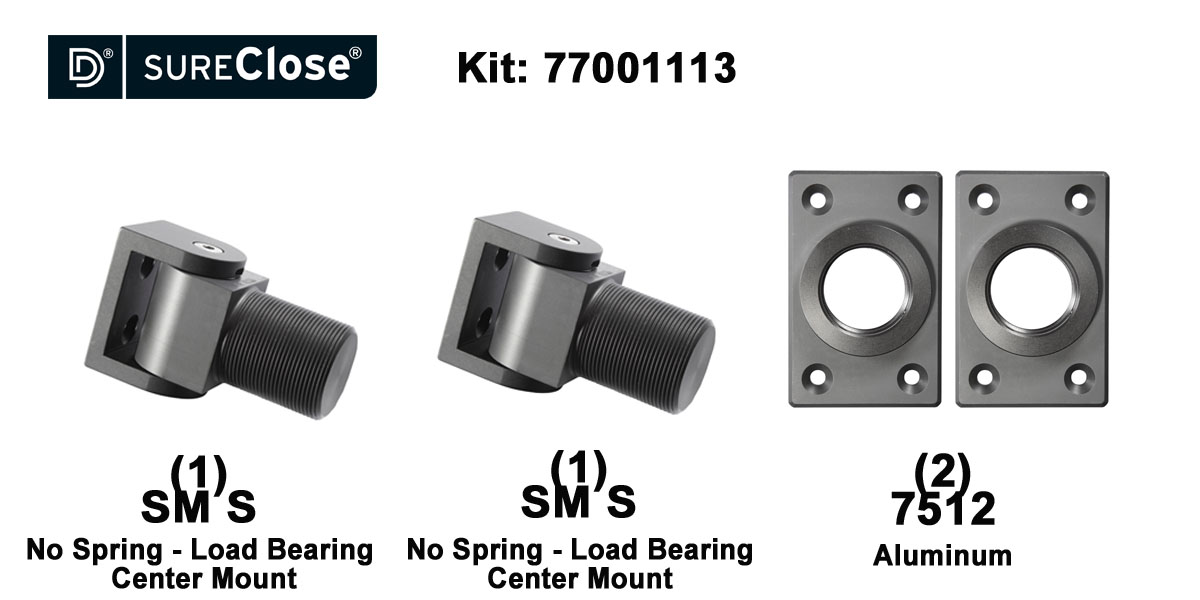 SM S/Non-Self Closing -up to 1500 lbs-Center Mount (Screw-On) Hinge Kit