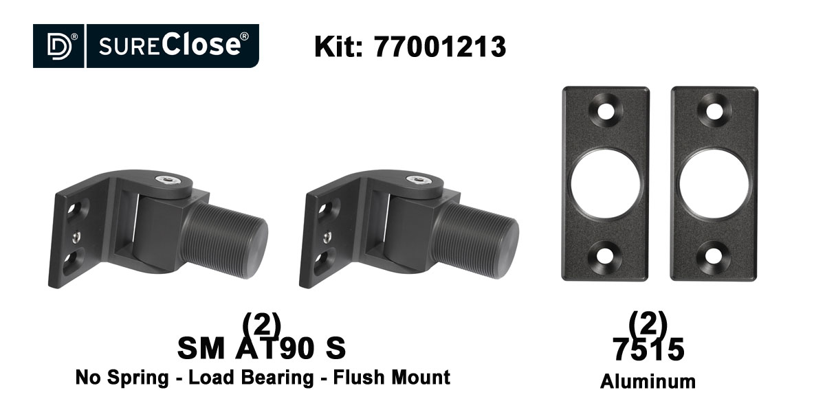 SM AT90 S/Non-Self Closing -up to 1500 lbs-Flush Mount (Screw-On) Hinge Kit
