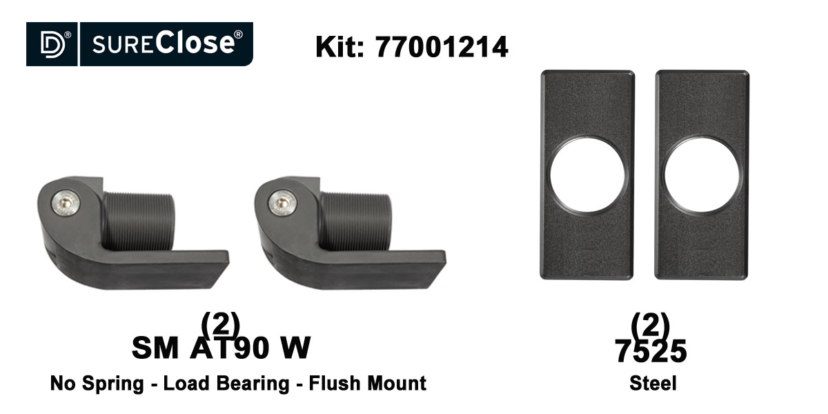 SM AT90 W/Non-Self Closing -up to 1500 lbs-Flush Mount (Weld-On) Hinge Kit