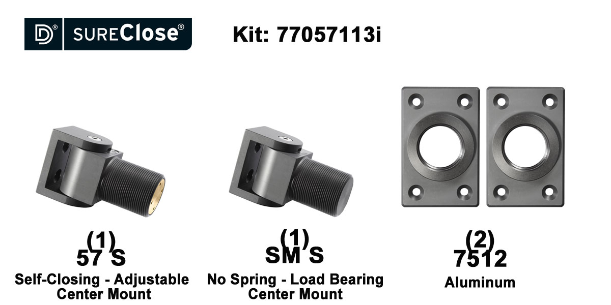 57 S/Self Closing -up to 90 lbs-Center Mount (Screw-On) Hinge Kit