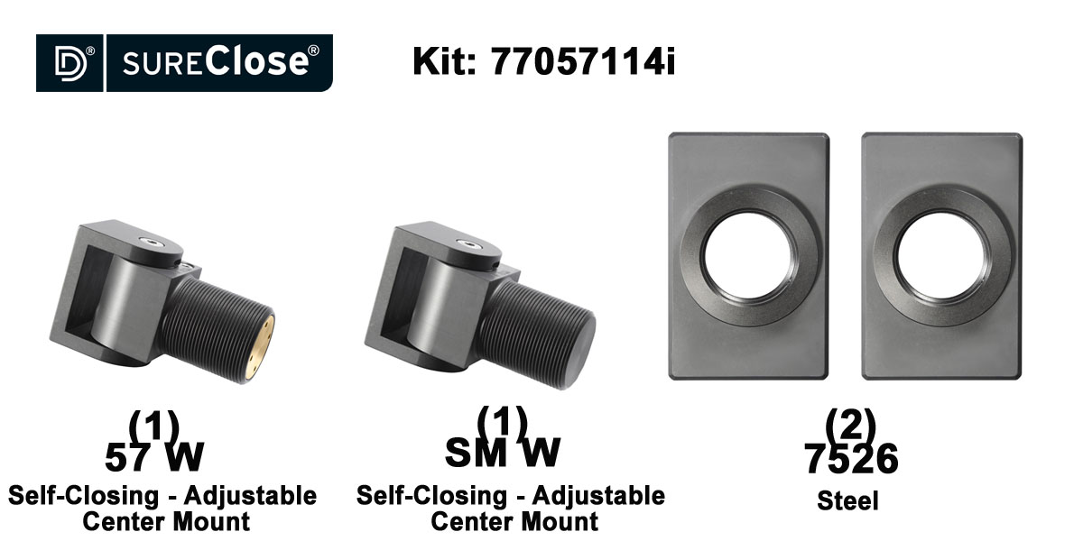57 W/Self Closing -up to 90 lbs-Center Mount (Weld-On) Hinge Kit