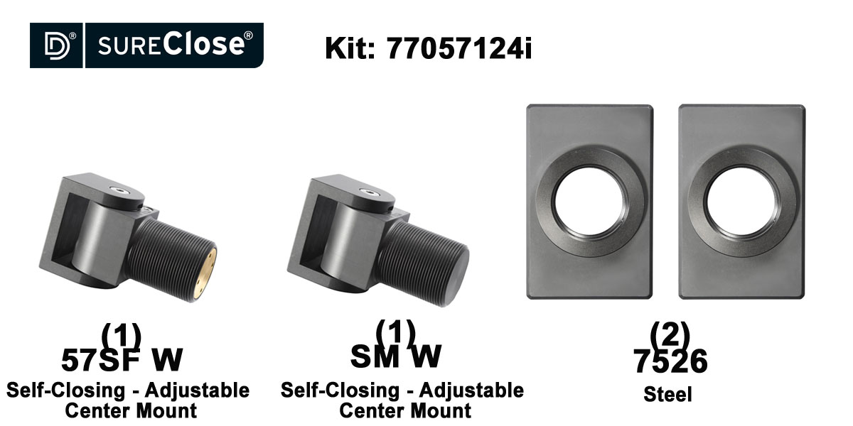 57SF W/Self Closing -up to 90 lbs-Center Mount (Weld-On) Hinge Kit for Pool Safety