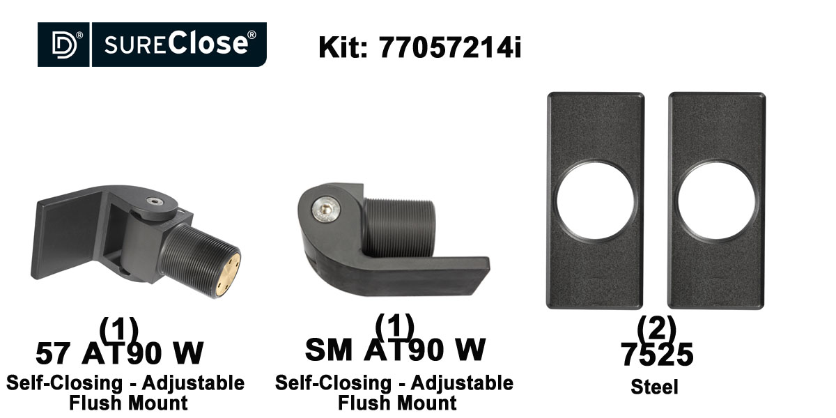 57 AT90 W/Self Closing -up to 90 lbs-Flush Mount (Weld-On) Hinge Kit