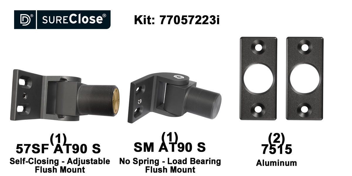 57SF AT90 S/Self Closing -up to 90 lbs-Flush Mount (Screw-On) Hinge Kit for Pool Safety