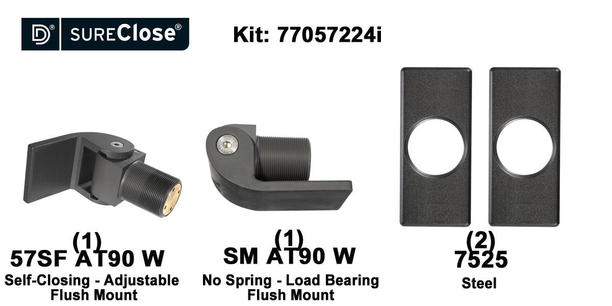 57SF AT90 W/Self Closing -up to 90 lbs-Flush Mount (Weld-On) Hinge Kit for Pool Safety
