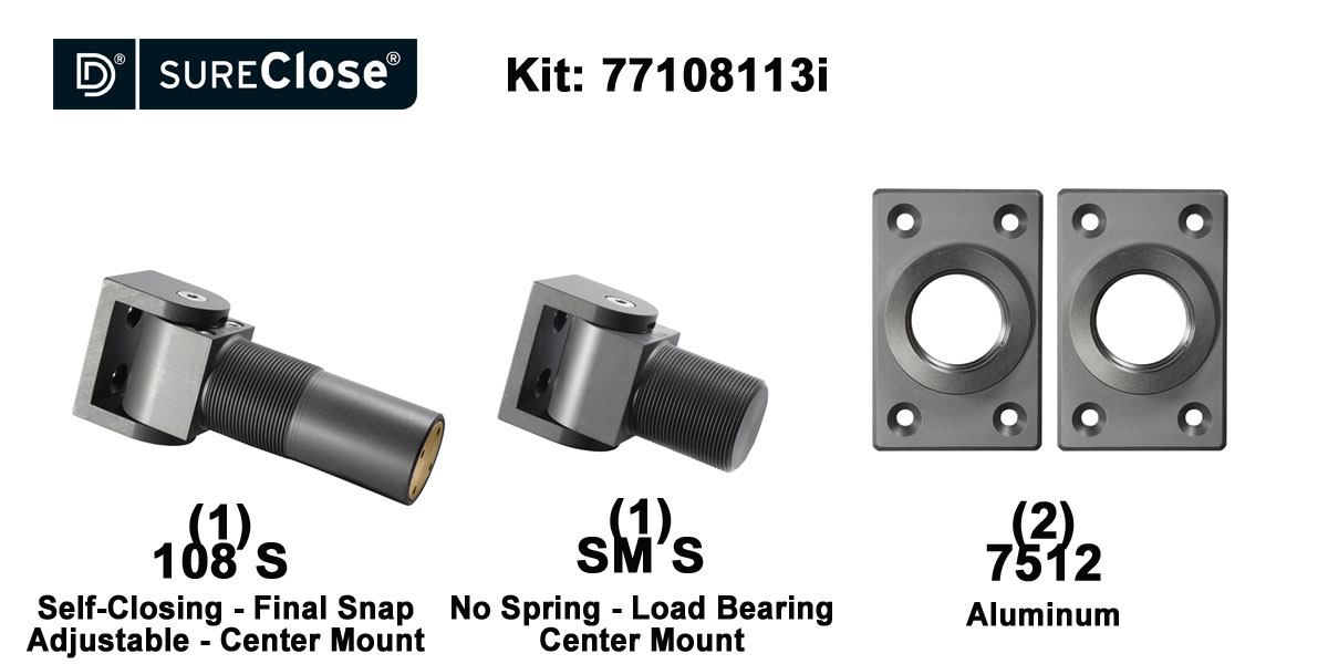 108 S/Self Closing -up to 180 lbs-Center Mount (Screw-On) Hinge Kit